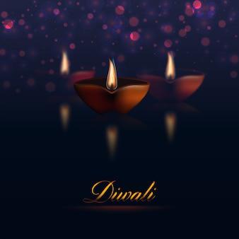Happy diwali sombre avec des lampes à huile.