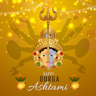 Happy durga pooja avec un design d'ashtami