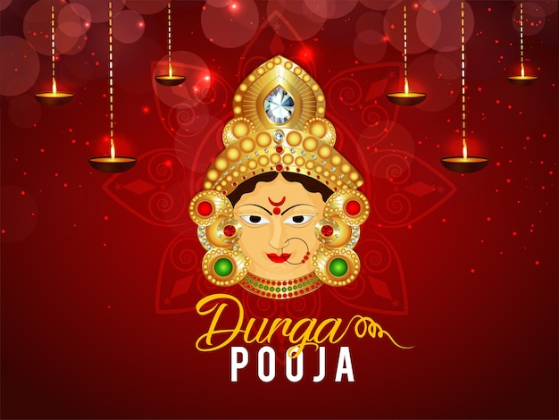 Happy durga pooja avec un design de fond ashtami