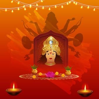 Happy durga puja avec design de fond ashtami