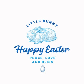 Happy easter bunny signe abstrait, symbole ou logo