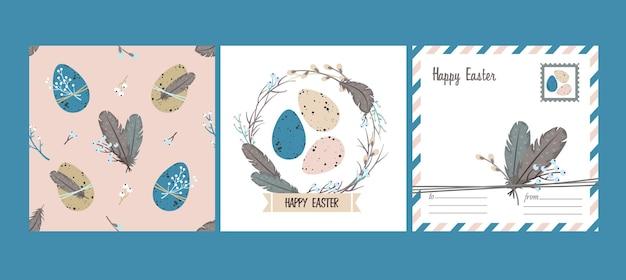 Happy easter set: carte de voeux et modèle sans couture. couronne de saule, oeufs de pâques, plumes.