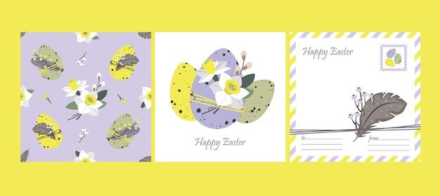 Happy easter set: carte de voeux et modèle sans couture. oeufs de pâques, jonquilles, plumes.