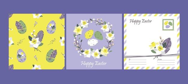 Happy easter set: carte de voeux et modèle sans couture. oeufs de pâques, plumes, couronne de jonquille.