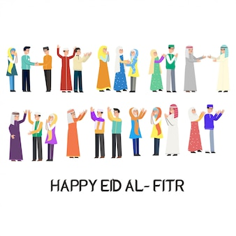 Happy eid mubarak character vector design