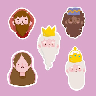 Happy epiphany, joseph mary et les trois visages de rois sages stickers