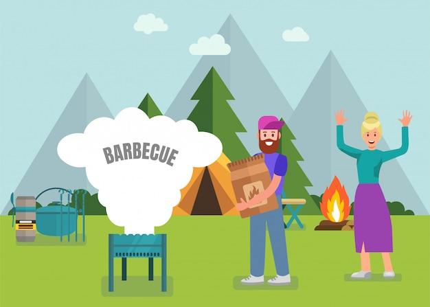 Happy family barbecue avec des équipements modernes