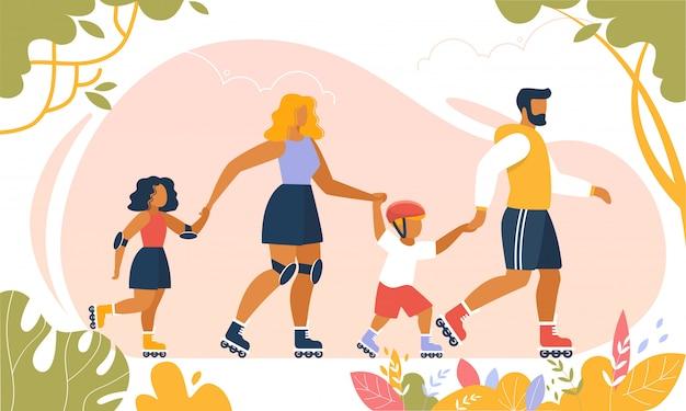 Happy family lifestyle rollerblading à l'extérieur