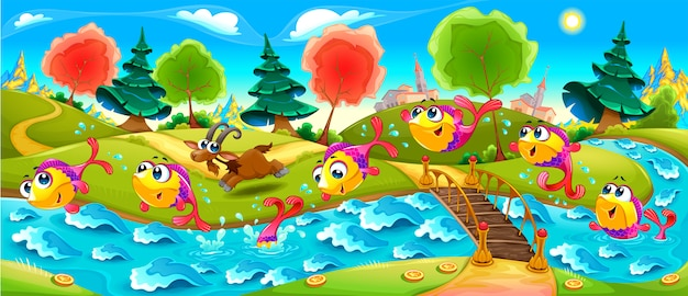 Happy fish danse dans la rivière