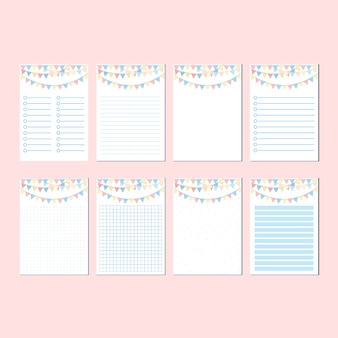 Happy fun festive party decoration stationary set blank template
