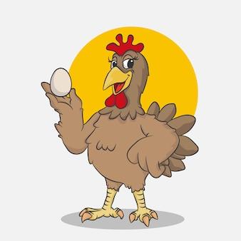 Happy funny cartoon poulet tenir les oeufs, sur fond blanc, illustration