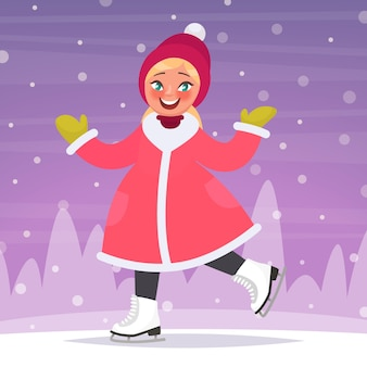 Happy girl patins à glace sur une patinoire en arrière-plan d'un paysage d'hiver