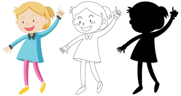 Happy girl avec son contour et sa silhouette