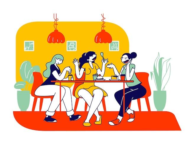Happy girls friends company assis dans un café bavardant et buvant du café avec pâtisserie et boulangerie. illustration plate de dessin animé