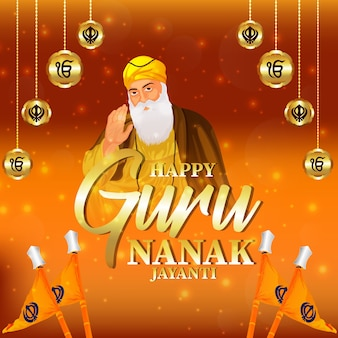 Happy guru nanak jayanti bannière ou en-tête avec fond jaune créatif