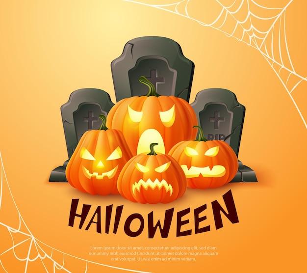 Happy halloween 3d réaliste effrayant jack lanterne pierre tombale et toile d'araignée