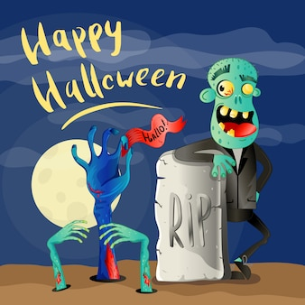 Happy halloween affiche avec zombie