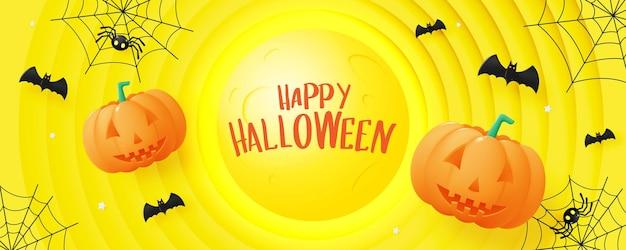 Happy halloween banner art background avec illustration vectorielle citrouille