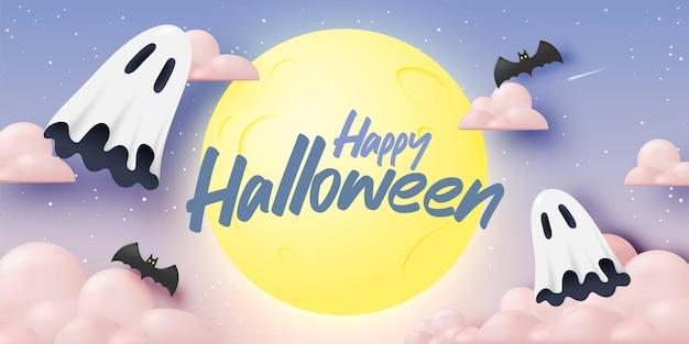 Happy halloween banner art background avec illustration vectorielle fantôme