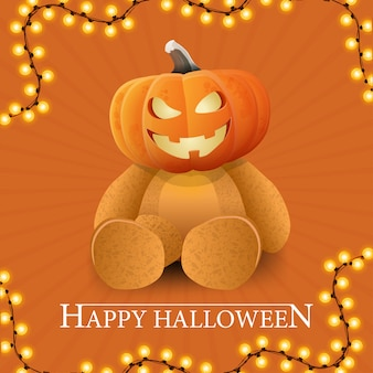 Happy halloween, carte postale carrée orange avec un ours en peluche et une tête de citrouille jack