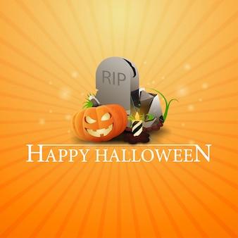 Happy halloween, carte de voeux orange avec pierre tombale et citrouille jack
