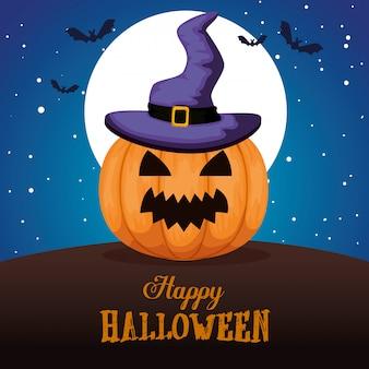 Happy halloween avec chapeau de sorcière citrouille