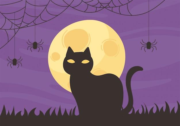 Happy halloween, chat noir nuit lune chauve-souris astuce ou traiter illustration vectorielle de fête célébration
