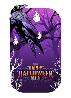 Happy halloween crow vector illustration, corbeau au cimetière