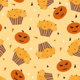 Happy halloween cupcakes avec motif sans soudure de fond mignon éléments halloween