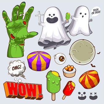 Happy halloween cute cartoon collection set character design pour fond d'illustration
