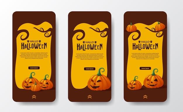 Happy halloween day trick or treat affiche bannière histoires de médias sociaux avec 3d jack of lantern citrouille monstre orange