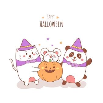 Happy halloween dessin animé mignon chat rat et panda tenant une citrouille.