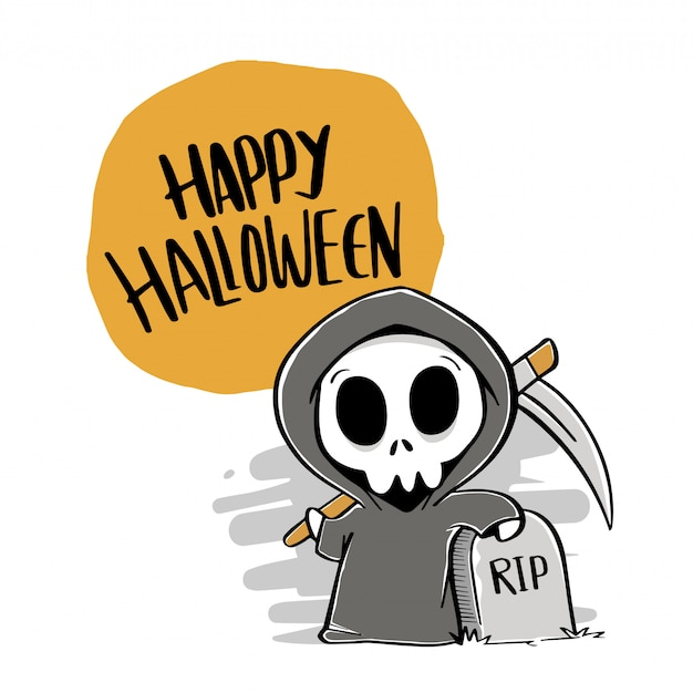 Happy halloween dessinés à la main