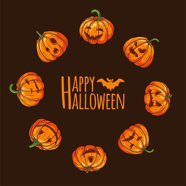 Happy halloween effrayant citrouilles avec cadre rond de visages. modèle de carte de lanterne citrouille jack en forme de cercle pour les cartes de voeux de vacances d'automne, les affiches, la conception et la décoration d'invitations. vecteur premium