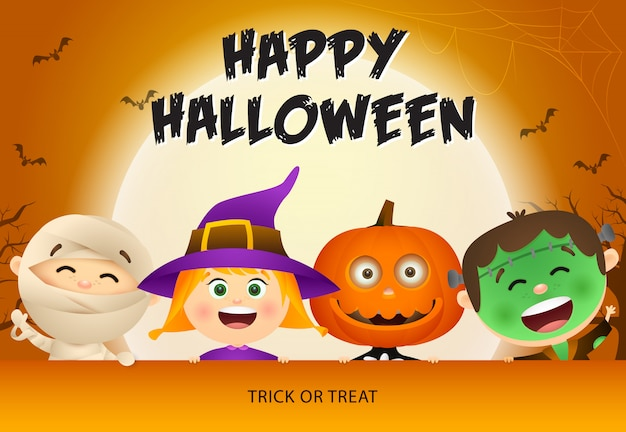 Happy halloween avec des enfants en zombie