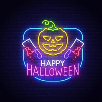 Happy halloween enseigne au néon