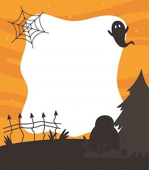Happy halloween, fantôme pierre tombale clôture web arbre nuit astuce ou traiter partie fond illustration vectorielle