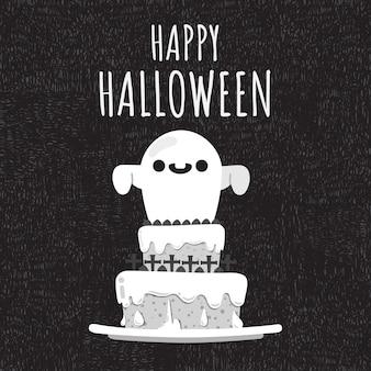 Happy halloween fantômes décorer sur le gâteau.