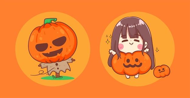 Happy halloween fille en costume de citrouille et monstre effrayant