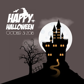 Happy halloween hunted maison et arbre