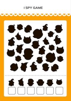 Happy halloween i spy math game pour les enfants avec des monstres jeu d'éducation à la pratique mathématique