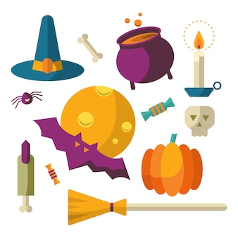 Happy halloween icons set