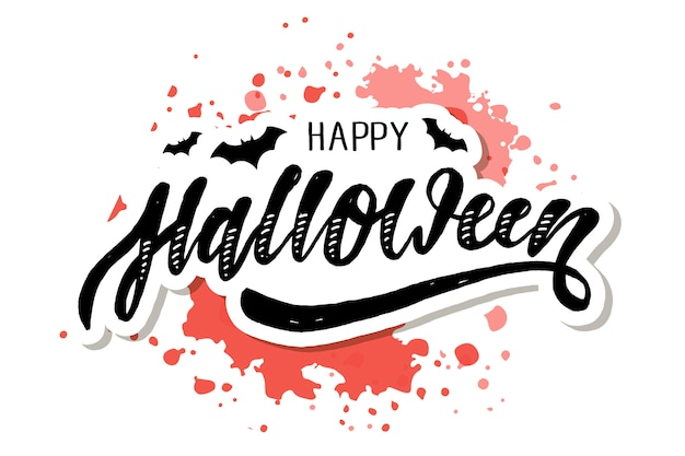 Happy halloween lettrage calligraphie pinceau texte vacances autocollant aquarelle