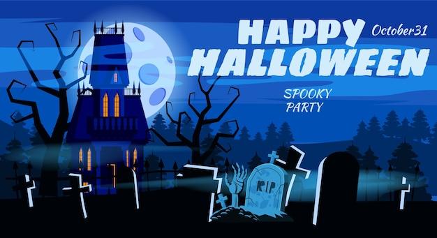 Happy halloween lonely effrayant manoir abandonné tombes de cimetière.