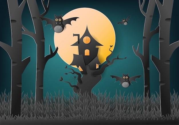 Happy halloween avec maison dans les arbres et fantôme de chauve-souris.