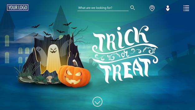Happy halloween, modèle bleu pour le site avec félicitations