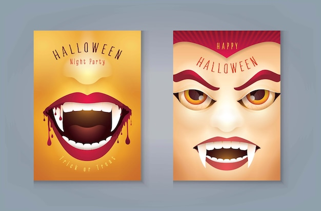 Happy halloween party, bouche de vampire effrayant halloween abstraite avec du sang, masque de vampire du comte dracula.