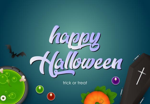 Happy halloween avec potiron, cercueil, potion bouillante