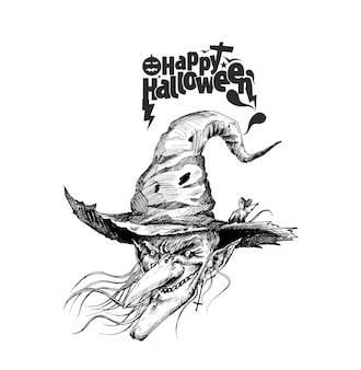 Happy halloween silhouettes de sorcières, illustration vectorielle de croquis dessinés à la main.