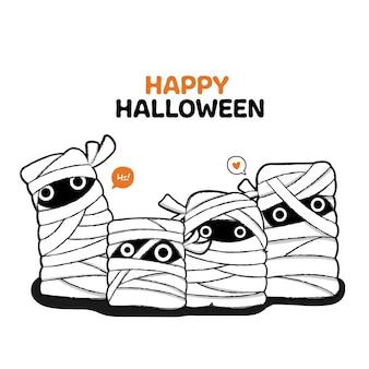 Happy halloween style dessiné à la main.